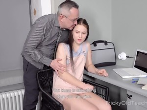 Tricky Old Teacher Fucks Straight A-student Nikka Hill And Cums On Her Belly