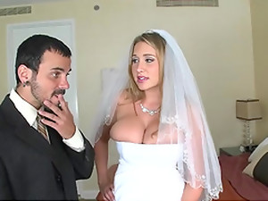 Slut with big tits gets fucked in wedding dress