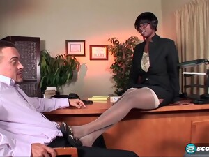 Black Woman Is Often Wearing Stockings And Having Casual Sex In Her Office, During A Lunch Break