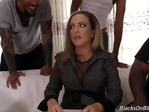 Impudent Blonde Milf, Carmen Valentina Was Sucking Two Huge Meat Sticks, At The Same Time