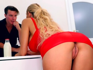 Blonde In Red Dress Without Panties Florane Russell Seduces One Handsome Guy
