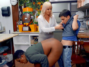 MILFs With Chubby Asses, Insane Cock Sharing Interracial Threesome