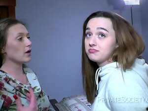 Nasty Teen Girls Go Lesbian For A First Time