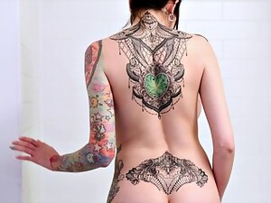 Tattoed Chick With Huge Tits Showering And Teasing