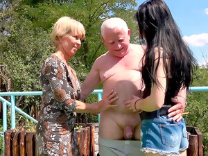Small Chested Teenage Girl Gives It Up To An Aging Couple