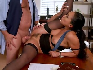 Asian Woman Gets The Boss To Drill Her Hairy Cunt For A Big Raise