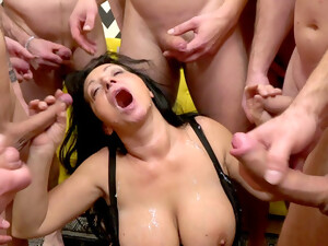 Gagged Mom Wants Even More Cream On Her Massive Jugs