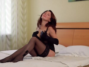 Sex-appeal Russian Woman Over 50 Ptica Is Masturbating In Gloves