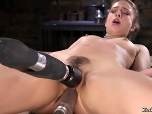 Inviting Dark Hair Girl In Rope Shagging Machine