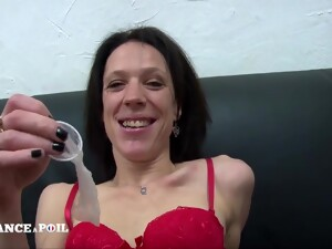 Skinny Darkhaired Babe In Red Lingerie Gets Bonked