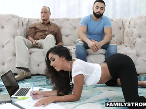 Stepbrother Fucks Slutty Stepsister Claire Black In Front Of Sleeping Daddy