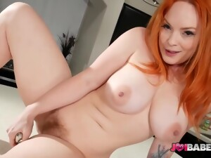 Gorgeous Redhead With Big Boobs Is Wearing Shoes With High Heels While Playing With A Sex Toy