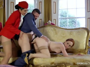 Red Haired Woman Is Having A Threesome With Her Boss And His Assistant And Enjoying It