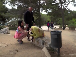 Outdoor Fun In The Park For Two Sluts And Their Master Dick