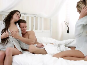 Fine Dolls Share A Perfect Dick In Marvelous Home Scenes