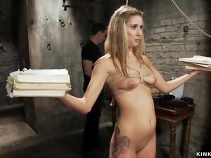 Master Makes Blondie Slave Fornicate Big Black Cock