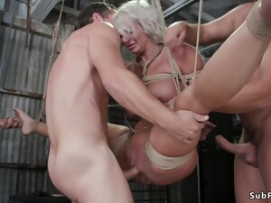 Huge Jugs Mommy Double Fucking Pounded In Suspension