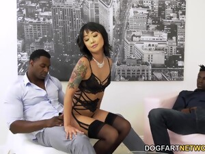 Korean Babe Saya Song Is Fucked In Anus And Pussy By Two Big Black Dudes
