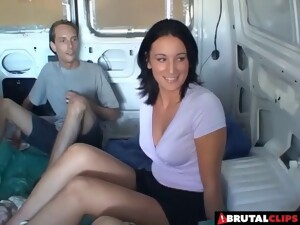 Flamboyant Dark-haired Babe And Two Rock-solid Cocks In The Van