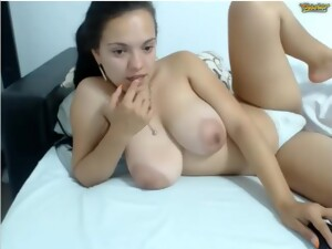 Lactating Camgirl With Large Monster Tits Smoking And Teasing On Webcam