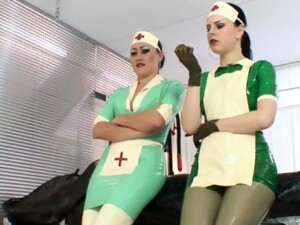 Poor Patient Suffers From A Latex Allergy, Also Her Can Be Helped In The Clinic By The Two Rubber Nurses