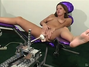 Young Hottie With Big Natural Tits Banged By Fucking Machine