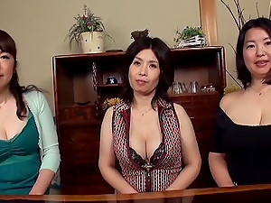 Three Busty Japanese Moms Let A Man Play With Their Big Natural Tits