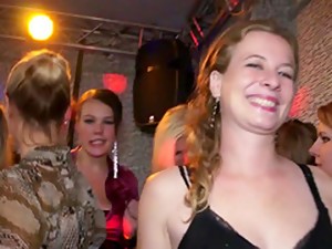 At This Large Sex Party, A Girl With A Purple Dress Has Her Tits Bared And Licked.