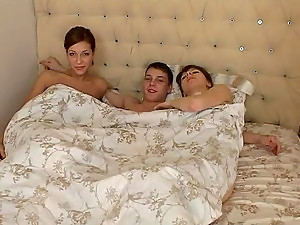 Fluky Fucker Has Two Terrific Teens All Over Him