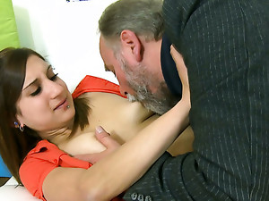 Brunette sweetie in miniskirt allows a grandpa suck her small tits