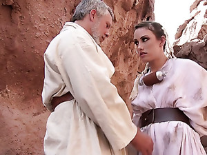 Young skank Jennifer White drilled deep in her ass by grey haired mature man
